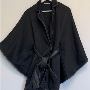Arden B black poncho with faux leather belt & trim